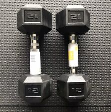NEW (2) 12 LB CAP Rubber Coated Hex Dumbbells Weights Free SHIP USPS Dumbbell