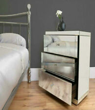 3 Drawer Mirrored Bedside Cabinet Luxury Glass Unit Unique Bedroom Furniture