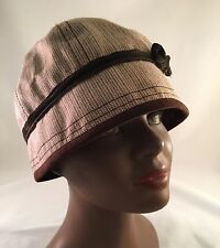 Goorin Bros. Cloche Style Hat. Tan With Stripes. Size XS