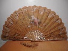 Grand éventail ancien 19 siècle monture nacre décor peint tissus soie broderie