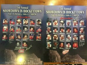 Autographed Poster Red Wings vs Canadiens Alumni 44 players 2006 18X25