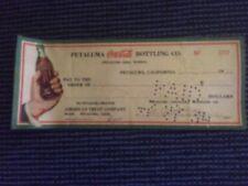 Vintage PETALUMA Bottling Co.Coca Cola Bottling Co signed check S.R. Kristiansen