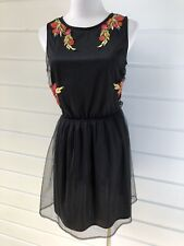 561e5972d4bb BOOHOO Black Tulle Sleeveless Party Dress With Floral Embroidery- Size 10