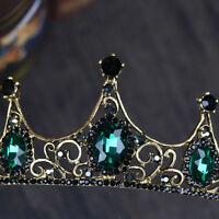 Baroque Wedding Bridal Tiara Handmade Vintage Green Crystal Crown Headband