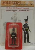 """Soldatini Napoleonici in piombo """"SERGENTE MAGGIORE, Leib-Bataillon, 1815"""" c/fasc"""