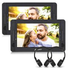 """2x10.1"""" HD portátil auto DVD Player reposacabezas monitores USB SD bateria +2 auriculares"""