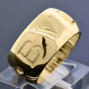 BVLGARI Italy 18K Gold Monologo 10MM Wide Band Ring Euro Size 52 US Size 6.25