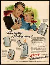 1949 ZIPPO WindProof  Lighters -Dad & Daughter- Art- Father-Together -VINTAGE AD