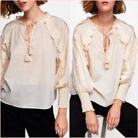 SALE Beige Natural Tasselled Long Sleeves Shirt Blouse Top L UK 12 US 8 Blogger❤