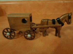 """WOODEN AMISH HORSE AND BUGGY FIGURINE 6"""" LONG"""