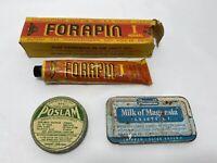 3 Advertising Medicinal Poslam Milk Of Magnesia Tin Forapin German Tube Vintage