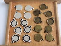 12-22mm Tibetan silver Round Pendant Trays Cabochon Base Setting 10pcs