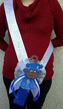 Baby Shower MOM TO BE SASH, WhiteBlue/boy, Ribbon Favor, Party,*MONKEY*safari