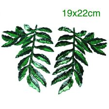 2 Large Green Leaves Sequin Embroidered Iron On Patch DIY Coat Fashion Applique