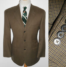 42S Joseph Abboud Brown Checkered Wool American Soft Jacket Mens Casual Blazer