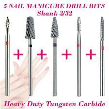 5 Tungsten Carbide Nail Manicure Bit Drill Shank 3/32 Fresas Burr Cuticle Remove