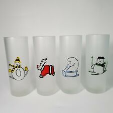 Dartington Designs Frosted Christmas Set Of 4 Highball Glasses Made In France
