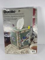 Vintage 1996 Bucilla Plastic Canvas Books Tissue Box Cover Kit #6185 New Sealed