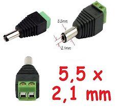 CONNETTORE plug spinotto 5,5 x 2,1mm jack maschio per led, telecamere, CCTV...