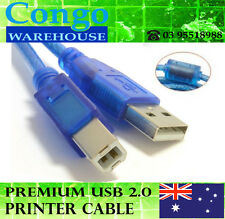 5M Premium USB 2.0 Type A Male to B Male Printer Scanner Cable Cord Blue AM BM