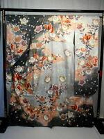 "Japanese kimono SILK""FURISODE"" long sleeves, Gold thread/leaf, Plants,L65""..1518"