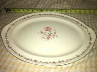 "VTG Taylor Smith & Taylor TST China Pink Rose 15 1/2"" x 11 3/8"" OVAL PLATTER USA"