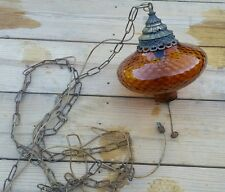 Vintage Swag Hanging Lamp/Light Orange Glass