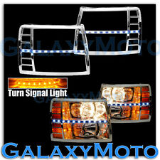 07-13 Silverado 1500 Chrome Headlight Trim+White LED+Turn Signal Function Cover