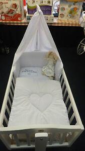 PRETTY LOVE HEART 3 PIECE SWINGING CRIB / CRADLE BEDDING SET BUMPER-QUILT-DRAPE