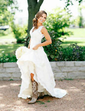 A line V Neck Country Wedding Gowns Rustic Bridal Dress 4 6 8 10 12 14 16 18 20+