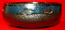 Art Pottery Cobalt Black Blue Glaze Rimmed Bowl Studio Japan