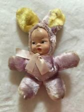 New listing Vintage Purple & Yellow Dolli Gund Baby Doll Face Bunny Rabbit Plush Doll