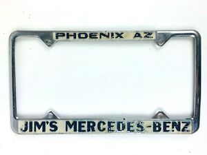 Vintage Dealer License Plate Jims Mercedes Benz Phoenix Arizona Classic Auto