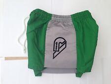 "Shiny Nylon Retro Goalie shorts green with contrast padded sides 26/28"""