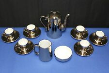Royal Worcester Silver Luster Tea Pot, Sugar, Creamer, Demitasse Cups & Saucers