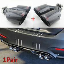 1 Pair 63mm Inlet Glossy Carbon Fiber Car SUV Dual Exhaust Pipe Tail Muffler Tip