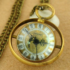 Ball Glass Copper Loop Hand Winding Mechanical Steampunk Pocket Watch Necklace