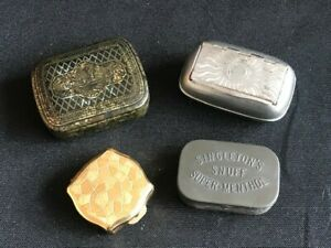 Snuff boxes - Antique made of tin, brass, silver plate. Early 20th Century.