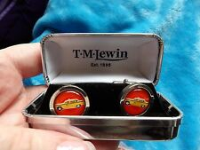 SONIA SPENCER NYC YELLOW TAXI CAB ROUND CUFFLINKS T.M LEWIN BOX  GIFT 453 - 6