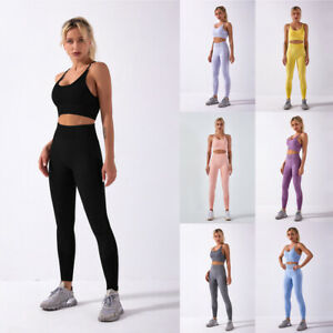 Womens Seamless Yoga Set Fitness Sports Suits Gym Clothing Sports Bra High Waist