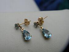 10K Yellow Gold Blue Topaz Tear Drop Dangle Earrings