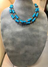 Handmade Short Necklace of Turquoise Blue Stones and Champagne Yellow Crystals