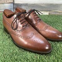 UK10.5 M&S Collezione Tan Oxford Brogue Dress Shoes - Formal Wedding - EU44.5