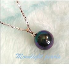 Tahitian Black Shell Pearl(12mm) high luster pearl pendant+S925 chain Necklace