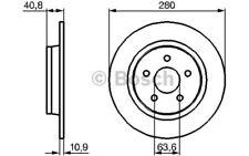1x BOSCH Disco de Freno Trasero Pleno 280mm 0 986 479 B81
