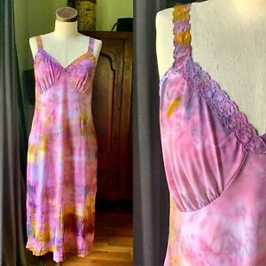 DYED PETALS Vintage Botanically Dyed Tie-Dyed Slip Dress S/M 36