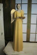 Schöner Vintage Shabby Meander Engel Kerzenhalter Handarbeit Gelb 75 cm NEU
