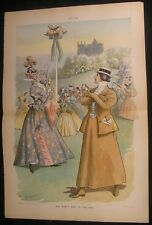 First Wave Feminist Steadfast Belief Fashion 1896 antique color lithograph print