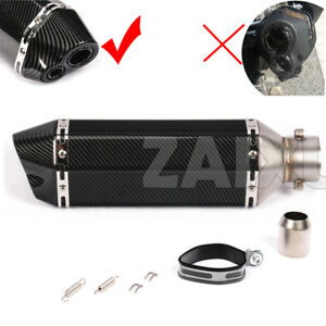 Universal Dual Outlet Scooter Exhaust Muffler Pipe Black Carbon Look 370mm 14.4""