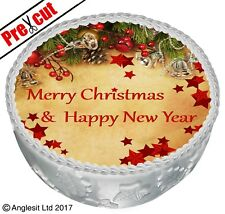 """PRE-CUT CHRISTMAS CAKE C III. TOPPER 7"""" / 18CM EDIBLE WAFER NEW YEAR DECORATION"""